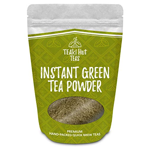 (TEAki Hut Instant Green Tea Powder 4oz (200 Servings) | Mixes With Hot Or Cold Water | No Brewing Needed | Loaded With Antioxidants EGCG | Healthier Than Coffee | Delicious Tea)