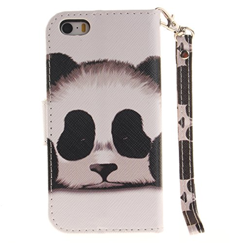 Für iphone SE 5S 5 Hülle Leder ,SKYXD Netter Panda Muster Klapphülle PU Folio Ledertasche Schutzhülle Trageschlaufe Magnetverschluss Kartenfächer Brieftasche Standfunktion Handyhülle mit [Eule Staubst