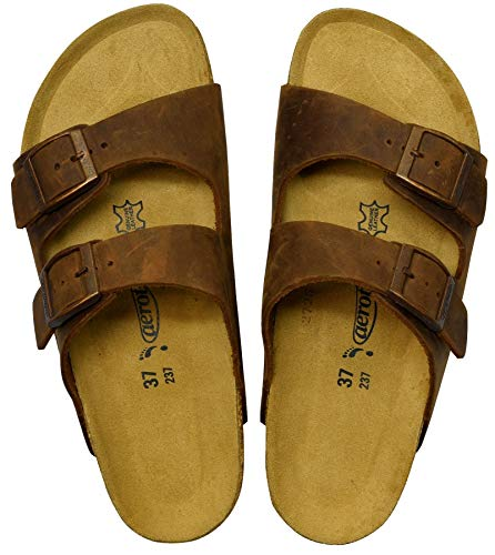 AEROTHOTIC - Genuine Suede Leather and Cork Footbed Sandals for Women (US-Women-10, Vista Brown)