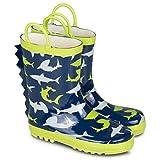 [SBR702-SHARKPRINT-T6] Boys Rain Boots Shark Print Easy On Toddlers Size 6
