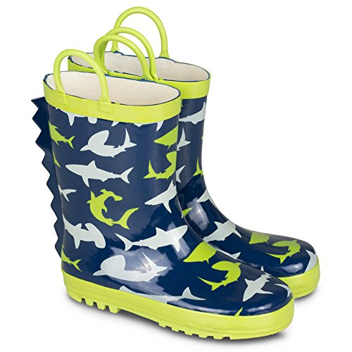[[SBR702-SHARKPRINT-T9] Boys Rain Boots Shark Print Easy On Toddlers Size 9] (Boots For Boys)