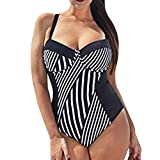 One-Pieces Swimsuit Plus Size - Anxinke Women Sexy Stripe Push-up Bra Monokini Swimwear (2XL)
