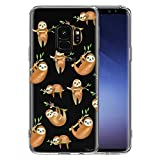 Unov Galaxy S9 Case Clear with Design Soft TPU Shock Absorption Slim Embossed Pattern Protective Back Cover for Galaxy S9 (Hanging Sloth)
