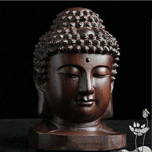 (ROSENICE Wooden Buddha Statue Religious Sakyamuni Buddha Head Figurine Statue Serenity Collection)
