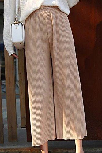 In Vita Alta Kahaki Elastica Vosujotis Plissettata Le Casual Pantaloni Donne Estate Palazzo C7nq6gw