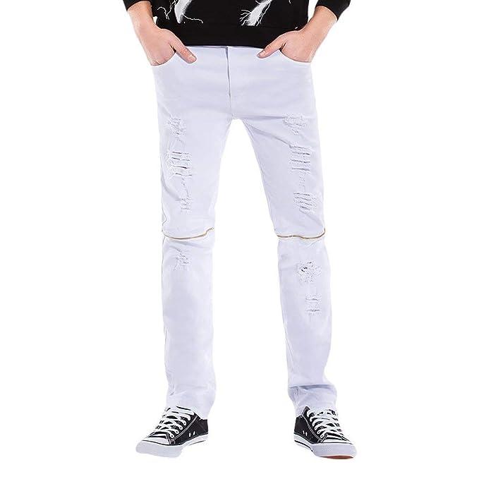 Pantalones Vaqueros De Mezclilla De Mezclilla Ripped Slim ...