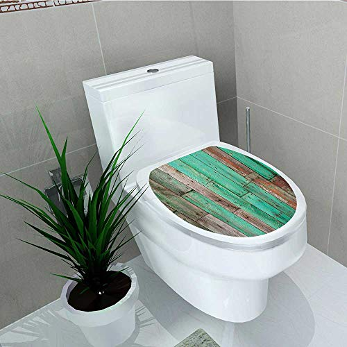Rustic Pull Distressed C/c (Philip C. Williams Waterproof self-Adhesive Rustic Stained Artisan Back with Distressed Piece of Pine Stick Sapwood Green Brown Toilet Seat Vinyl Art Stickers W15 x L17)