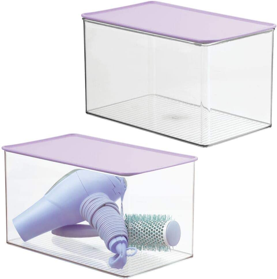 mDesign Stackable Bathroom Storage Box with Attached Hinged Lid - Container for Organizing Hand Soaps, Body Wash, Shampoos, Conditioners, Hand Towels, Accessories, Body Spray, 2 Pack - Purple