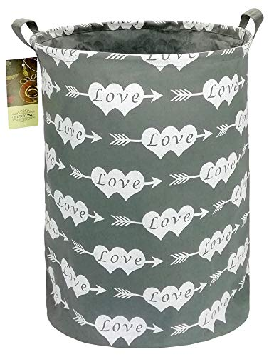 HUNRUNG Large Canvas Fabric Lightweight Storage Basket/Toy Organizer/Dirty Clothes Collapsible Waterproof for College Dorms, Kids Bedroom,Bathroom,Laundry Hamper (Heart Arrow)
