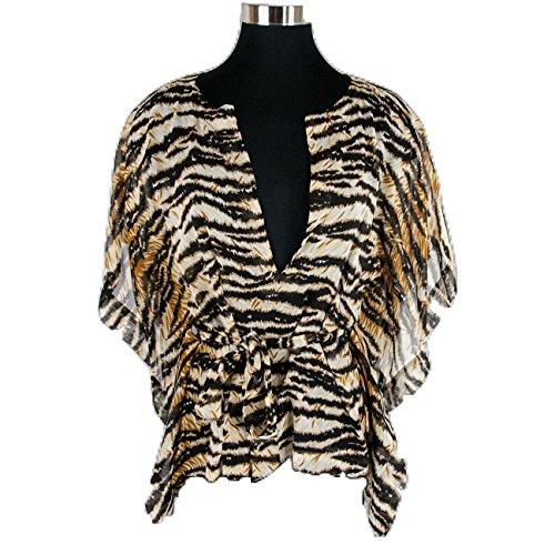 Dolce & Gabbana Brown Tiger Print Sheer Silk Belted Dolman Top Shirt Blouse (Gabbana Tiger)