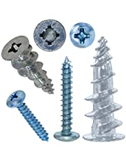 Wall Anchors and Screws for Drywall, Zinc Self Drilling Drywall Anchors with Screws Set- 10 Screws, 10 Self Drilling Zinc Drywall Anchors Use for Screws Professional and Home Use (20PCS Short)