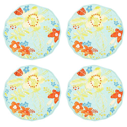 Floral Quilted Round Placemats, Set of 4