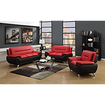 this item furniture contemporary bonded leather sofa set chair red black loveseat and under 600 sets