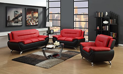 (GTU Furniture Contemporary Bonded Leather Sofa & Loveseat Set/Sofa, Loveseat & Chair Set (Sofa, Loveseat and Chair, Red and Black))