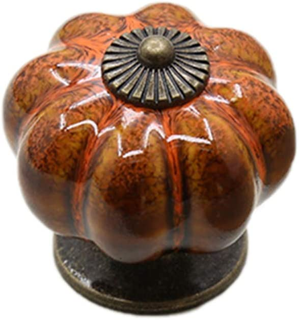 MSYOU Poign/ée de tiroir de Placard Simple Pastoral Simple Trou en c/éramique Style Citrouille Style Citrouille Cuisine Chambre tiroir Meuble Accessoires de Bureau Orange Alliage 40 * 40mm