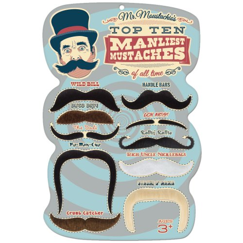 [Mr. Moustachio's Mustache 10 Manliest Mustaches of All Time - Includes Bonus 10 Tattoo Mustache] (Fake Mustache Kit)