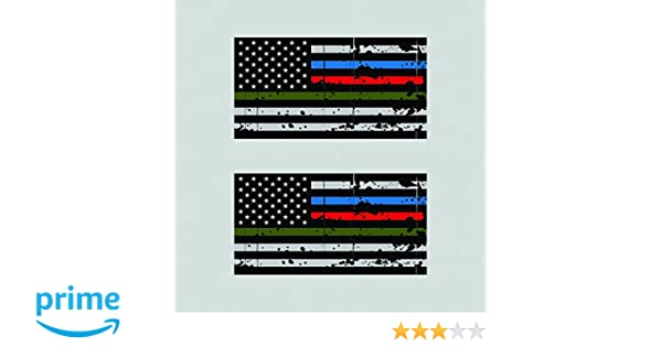 Two Pack Thin Blue Line Police Firefighter Military Tattered Flag Sticker Decal Self Adhesive FA Graphix fagraphix 5292CFBFA-2-FA3246