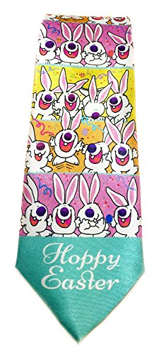 Stonehouse Collection Men's Easter Tie - Easter Buny Necktie - Hoppy Easter Easter Eggs Tie