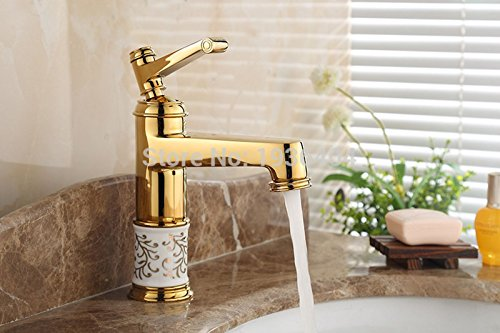 Exit Tray Extension (Golden Bathroom Basin Faucet Mixer with Porcelain Ceramic Single Handle Deck Mount Torneira Sink Faucet)