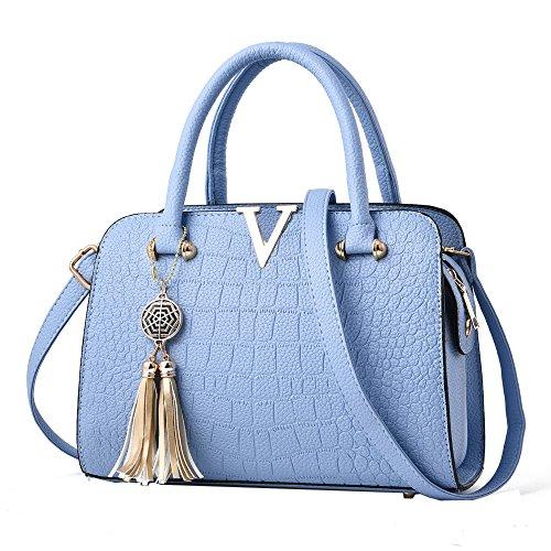 Fashion Women Bag! ZOMUSAR Women's Fashion PU Leather Shoulder Bag Alligator Pattern Ladies Crossbody Handbag (Light Blue)