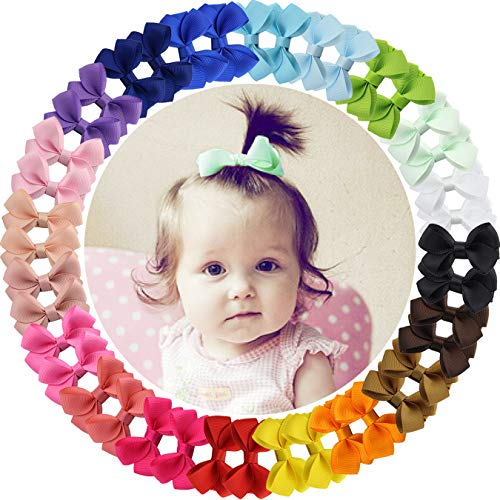 "40pieces 2"" Grosgrain Ribbon Tiny Hair Bows Clips Fully Lined Hair Clips Hair Accessories for Baby Gilrs Toddlers Kids Infants"