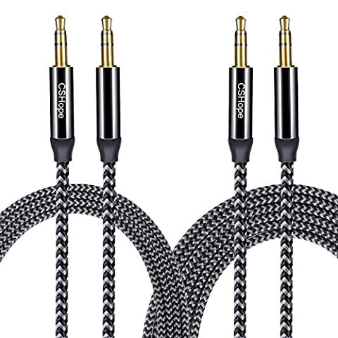 Audio Cable CSHope 3.5mm 2Pack Male to Male Nylon Braided Auxiliary Aux Stereo Cable (Black with Grey, 10ft + (Av Cord For Cell)