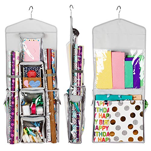 - Regal Bazaar Double-Sided Hanging Gift Bag and Gift Wrap Organizer (Light Grey)
