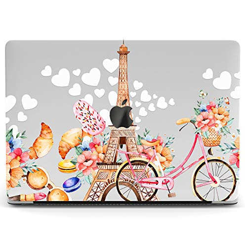 Wonder Wild Mac Retina Cover Case for MacBook Pro 15 inch 12 11 Clear Hard Air 13 Apple 2019 Protective Laptop 2018 2017 2016 2015 Plastic Print Touch Bar France Women Eiffel Tower Bicycle Flowers -