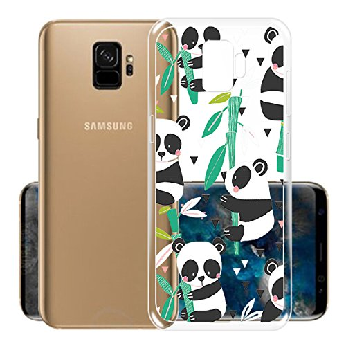 Case for Samsung Galaxy S9 , IJIA Transparent Adorable Panda Clear TPU Soft Silicone Protection Bumper Fashion Skin back Shell Case Cover for Samsung Galaxy S9 (5.8