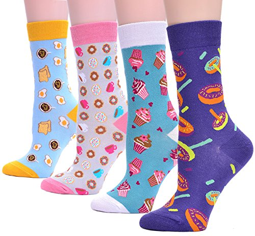 Interest4U Women's 4 Pairs Dessert Disign Crew Socks - Icecream , One Size