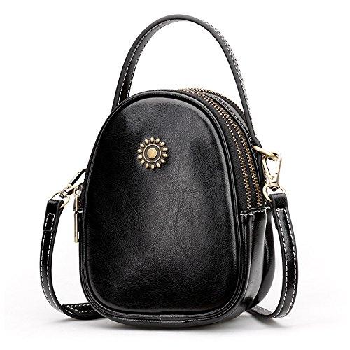 sac téléphone Femmes sac sac vache Brown portable Mini de coréenne mode main Sac Lady Peau LANDONA Black bandoulière à Sac XTdqwAA