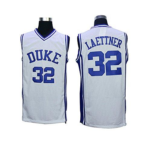 Mens #32 Christian Laettner Duke Blue Devils College Throwback Basketball Jersey Embroidery white L