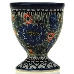 Ceramika Artystyczna Polish Hand Painted Egg Cup (Blue Wildflowers)