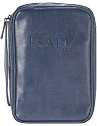 Navy Blue 7.5 x 10.8 inch Leather Like Vinyl Bible Cover Case with Handle Large