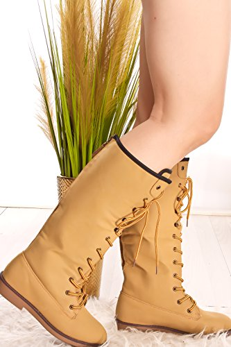 Dnd Anna Lace Up Ronde Neus Knielaarzen Camel-marcy-39
