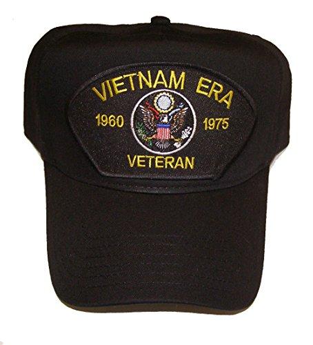 VIETNAM ERA VETERAN HAT 1960 - 1975 with U.S. Flag cap - BLACK - Veteran Owned Business