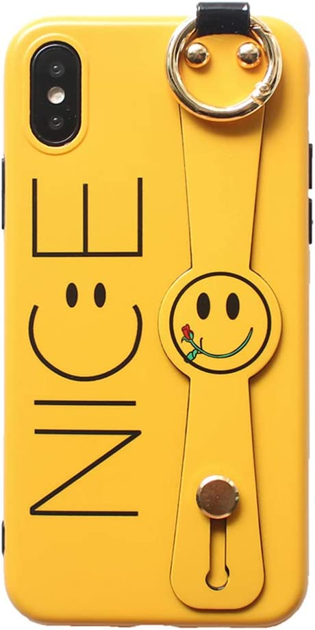UnnFiko Hand Strap Holder Case Compatible with iPhone X/iPhone Xs, Cute Cartoon Smiley Face Design, TPU Protective Stand Case Covers (Smiley Face Yellow, iPhone X/Xs)