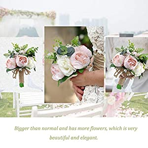 YSUCAU Wedding Bridal Bouquet, 9.8'' Wedding Bride Bouquet, Wedding Holding Bouquet with Artificial Peony and Rose Fiowers, Natural Jute Twine, Crystal for Wedding Church Party and Home Decor 4
