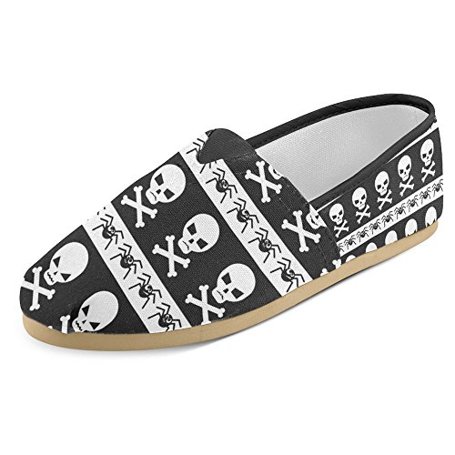 InterestPrint Women's Loafers Classic Casual Canvas Slip On Fashion Shoes Sneakers Mary Jane Flat Happy Halloween Pattern with Skulls and Spiders