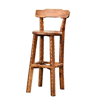 Fabulous Amazon Com Bar Stool Solid Wood Back Wooden Bar Chair Retro Cjindustries Chair Design For Home Cjindustriesco