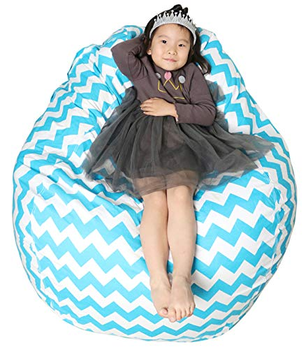 Great Eagle 40 x 48 Inches Extra Large|Huge|Gigantic 100% Organic Cotton Canvas Kids Stuffed Animals Toys Storage Bean Bag Chair Cover for Kids, Toddlers,Teens and Adults(Chevron Blue Turquoise)