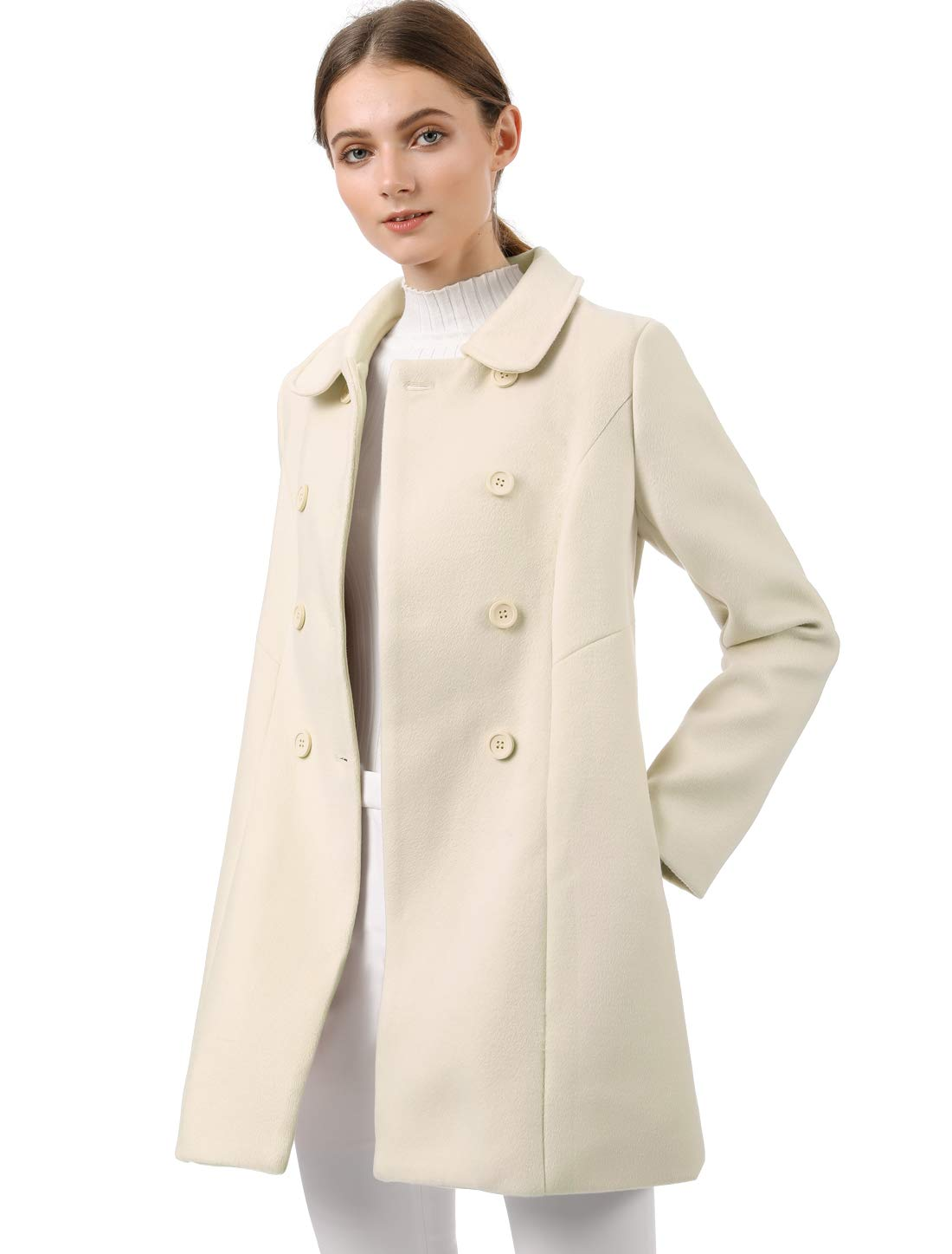 Allegra K Women's Peter Pan Collar Double Breasted Winter Long Trench Pea Coat