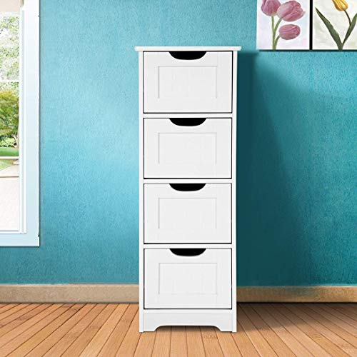 Tangkula Floor Cabinet with 3 Drawers Wooden Storage Cabinet for Home Office Living Room Bathroom Side Table Sturdy Modern Drawer Cabinet Organizer Bedroom Night Stand, White (12 x 12 x 32)