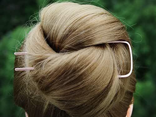 Wavy Copper Hair Fork Hair Bun Chignon Holder FINE HAIR Accessory Metal Hair Clip U Shaped Hair Pin Rose Gold Hair Slide Gift Women