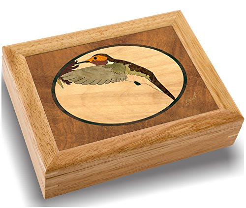 MarqART Hummingbird Wood Art Box - USA, Handmade - Trinket Jewelry Boxes & Gift - Unmatched Quality - Unique, No Two are The Same - Original Work of Wood Art (#2504 Hummingbird 6x8x2)