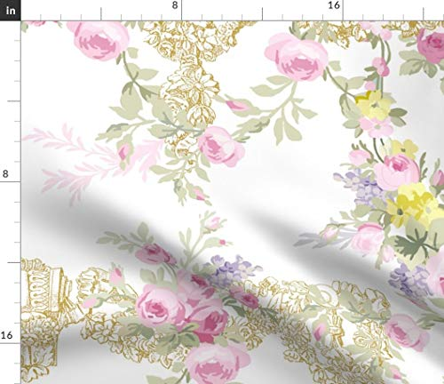 Spoonflower Toile Fabric - Roses Floral Pink and White Rococo Bees by Lilyoake Printed on Cotton Poplin Ultra Fabric by The Yard