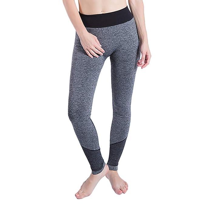30ef3c60321e Soholulu Comfortable Women Gym Sports Wear Stitching Sports Skinny Yoga  Pants Leggings for Training Black S