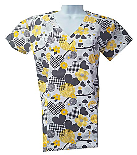 Valentine's Hearts Love Scrub Tops Size XS-2XL New Nursing Medical Holiday Print (XS, Black) by Zikit NY (Image #1)