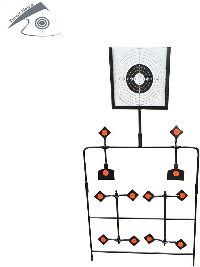 TARGET HOUSE Objetivo mejorado para pistola de aire con 12 placas (viene con 20 objetivos de papel)