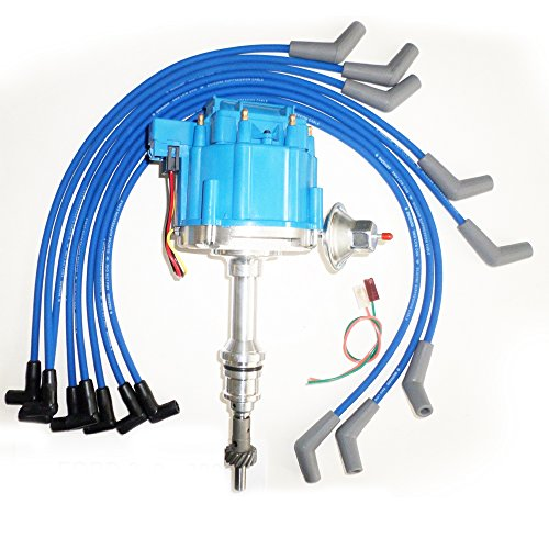 Commart FORD Small Block 221,260,289 & 302 BLUE HEI Distributor & Spark Plug wires Ships from USA (Cr85 Spark Plug)
